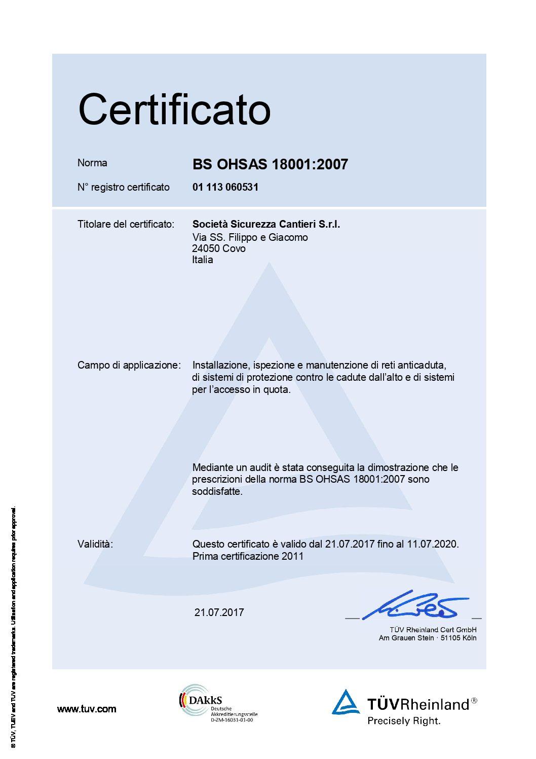 Certificato SSC ISO 9001:2015