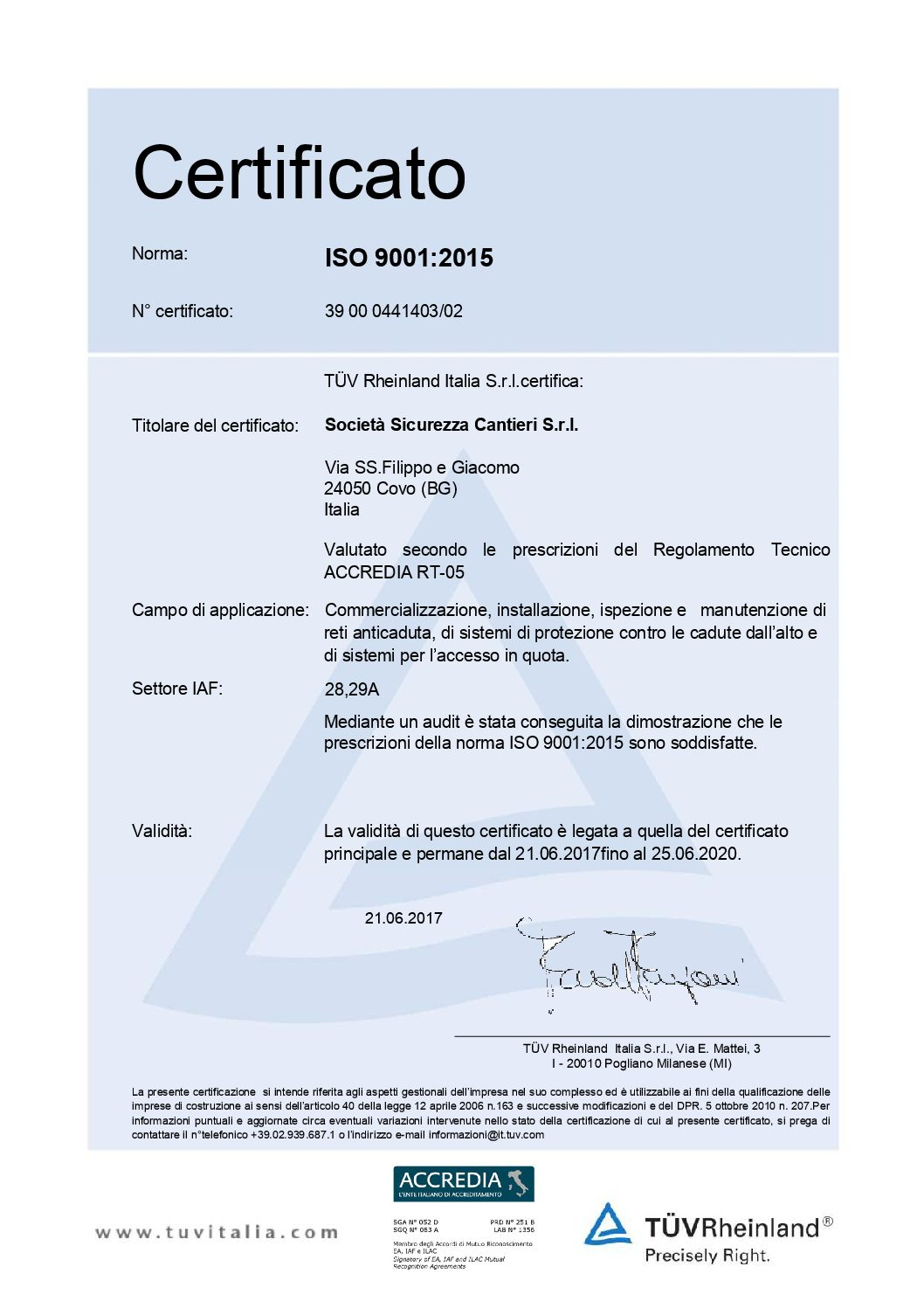 Certificato SSC BS OHSAS 18001:2007